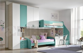 Loft bedroom set C140 with integrated study, ladder steps and sliding bed