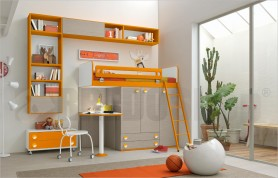 bedroom with bunk bed with built-in wardrobe and study area Golf C141