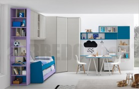 Bridge unit composition Golf C148 with wardrobe, sliding beds and study area two computers