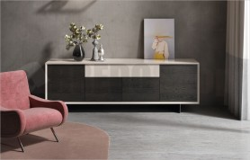 Horizon sideboard 868, magnolia gloss and grey ash