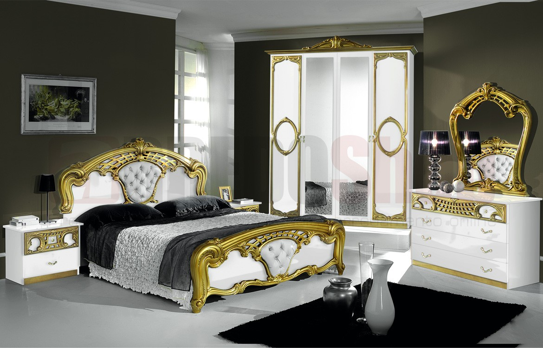 Mobile Ponte Camera Da Letto camera da letto sara white 04 finiture decorazioni bianco-oro
