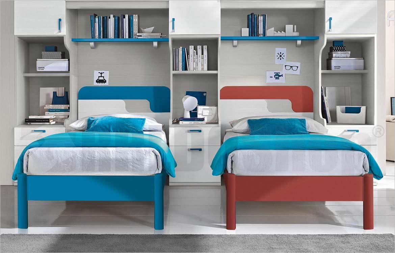 Camerette A Ponte Con 3 Letti.Cameretta A Doppio Ponte Golf C152 Con Letti Libreria E Studio