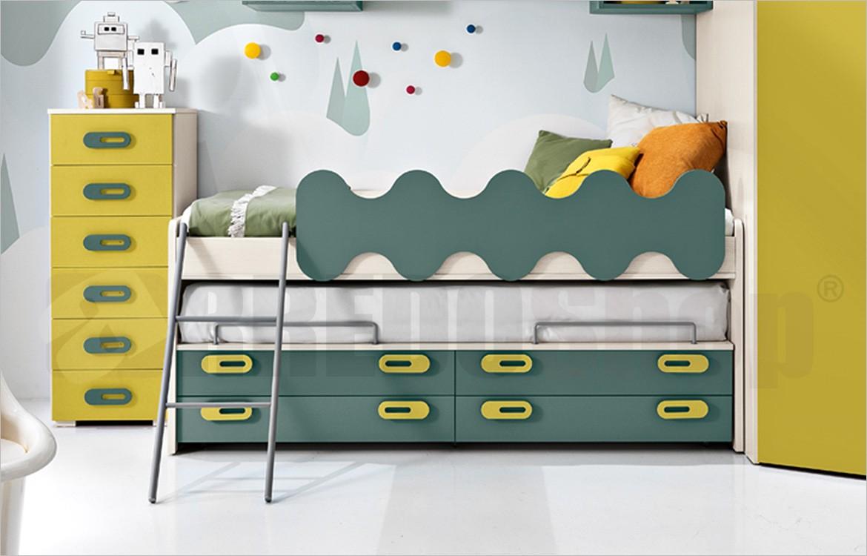 Cameretta con cabina small letto multifunzione e for Settimino cameretta