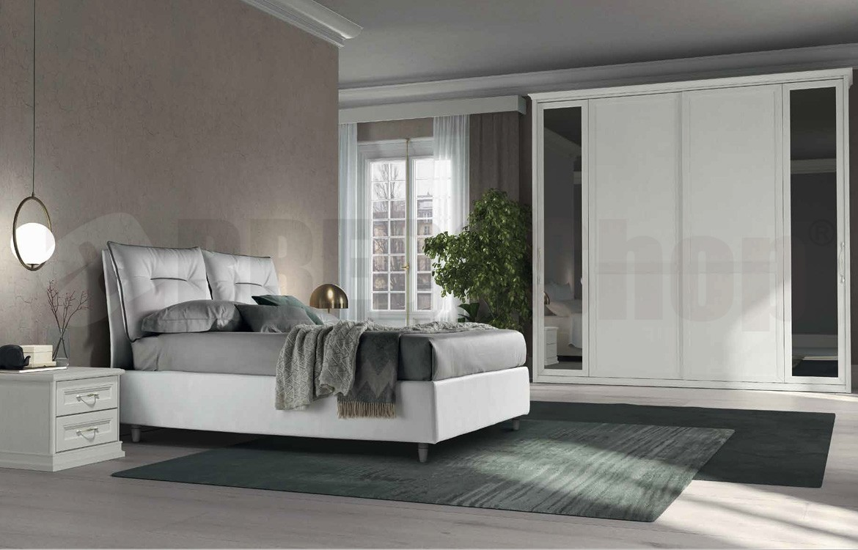 Camera da letto matrimoniale componibile ARCADIA AM102. Finiture Arcadia 1  Bianco Bucaneve Vetri Arcadia Tarassico